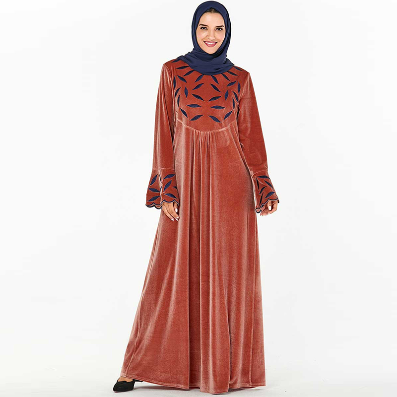 Winter Velvet Abaya Dubai Islamic Muslim Arabic Dress Kaftan Women Hijab Turkish Dresses Caftan Marocain Robe Arabe Musulman