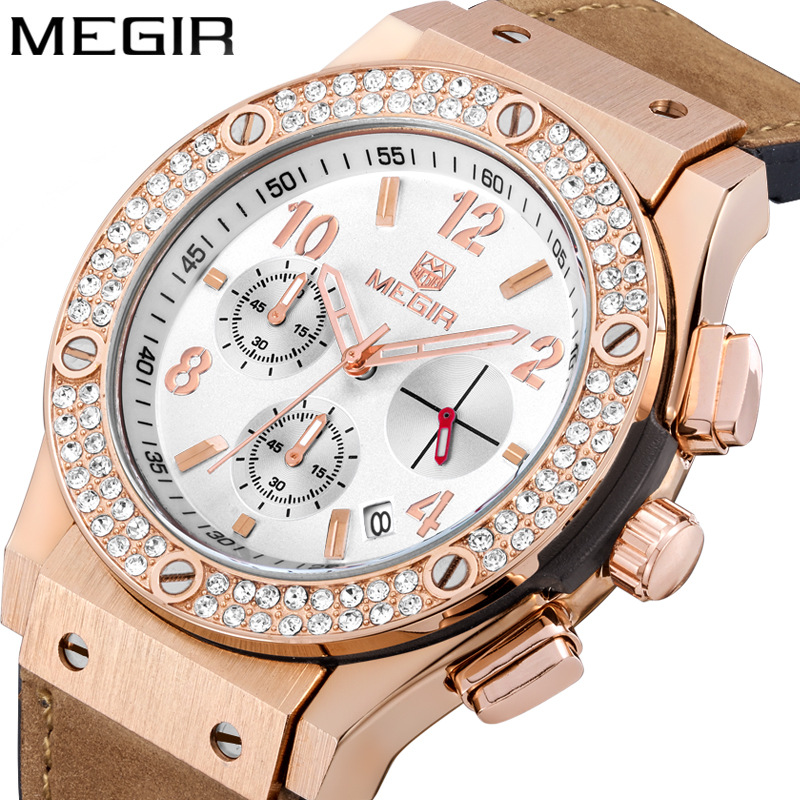 High Quality Sport Watch For Couple Luxury Brand Couple Watch With Rhinestone Fashion Waterproof Chronograph Lover Watches