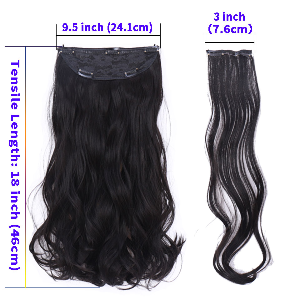Fish Line With Clip In Hair Extensions Natural Hair Pieces Real Hair Extensions  Fish Line 24 Inch Synthetic Flip In Hair Wavy