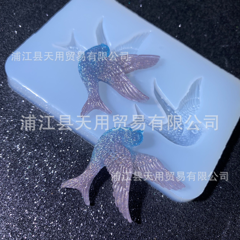 Two swallows drop glue mold mobile phone case decoration accessories pendant  15-1042
