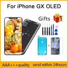 Mükemmel kalite AAA + + + iPhone X için GX LCD AMOLED hiçbir ölü piksel ekran Pantalla 3D dokunmatik ekran montaj değiştirme TFT LCD