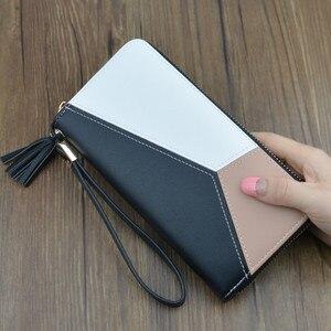 Женский кожаный кошелек с кисточками, модный длинный кошелек с карманами для телефона, держатель для карт, длинный клатч, кошелек для монет, ...