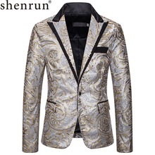 Shenrun Men Sequin Blazers New Fashion Slim Silver Gold Suit Jackets Host Singer Stage Dress Costumes Party Prom Casual Blazer