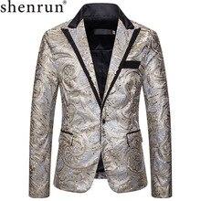 Shenrun Nam Đầm Áo Cộc Tay Thời Trang Mới Mỏng Bạc Vàng Vest Chủ Ca Sĩ Sân Khấu Đầm Trang Phục Dự Tiệc Dạ Hội Cổ Áo