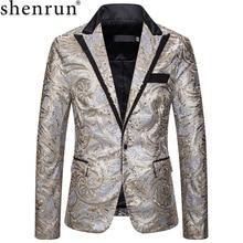 Shenrun erkekler pullu Blazers yeni moda ince gümüş altın takım elbise ceketleri ana şarkıcı sahne elbise kostümleri parti balo Casual Blazer