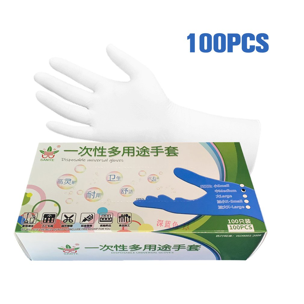 50/100pcs Disposable Latex Gloves Cleaning Work Finger Gloves Latex Protective Home Food For Safety Transparent
