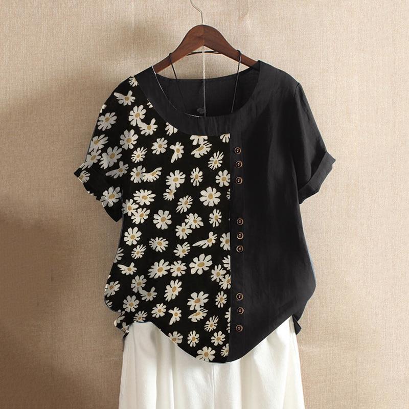 Daisy Print Vintage Women's Shirt 5XL Plus Size Loose Cotton Linen Women's Clothing Casual Elegant Short Sleeve Blusas Mujer