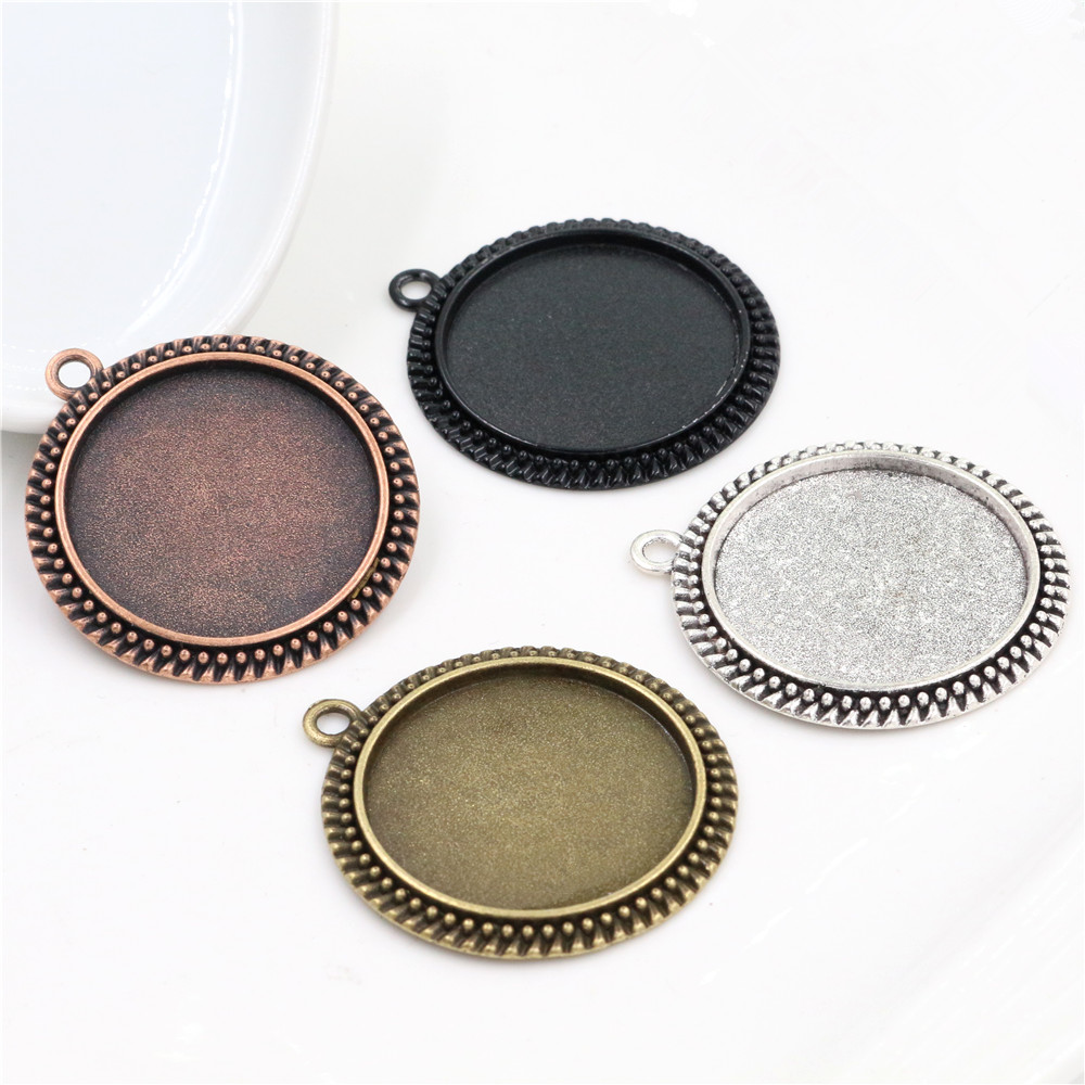 5pcs/Lot 30mm Inner Size 4 Colors Plated Classic Style Cabochon Base Setting Charms Pendant Tray