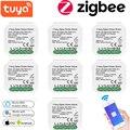 Tuya Zigbee 1/2 Gang Смарт диммер без нейтральный релейный модуль автоматизации умного дома дистанционного Управление работать с Alexa GoogleHome