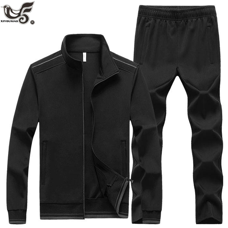 New Men's Set Spring Autumn Man Sportswear 2 Piece Sets Sports Suit Jacket+Pant Pure Color Sweatsuit Male Training Tracksuit