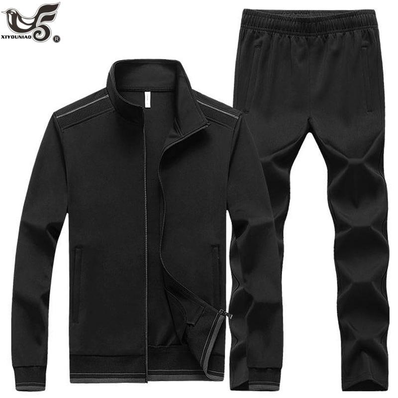New Men's Set Spring Autumn Man Sportswear 2 Piece Sets Sports Suit Jacket+Pant Pure Color Sweatsuit Male Training Tracksuit