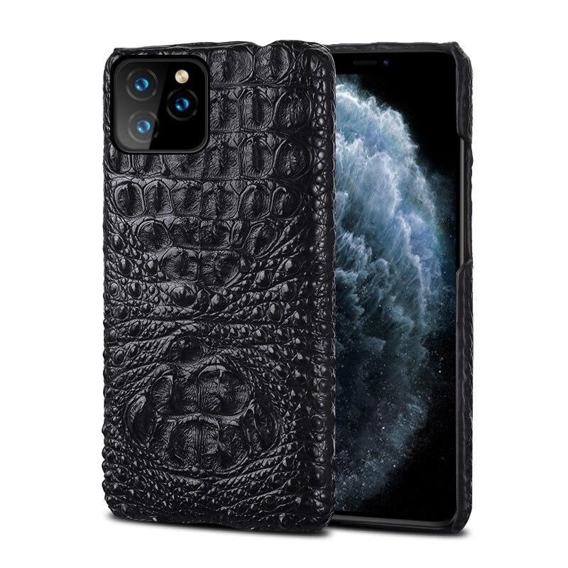 Étui pour iphone en cuir véritable Crocodile 11 pro max coque arrière en cuir d'origine pour iphone 11 coque xr xs max 7 8 coque fundas