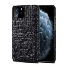 Crocodilo caso de couro genuíno para o iphone 11 pro max 11 couro original capa traseira para o iphone 12 pro max xs max coque fundas