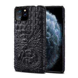 Image 1 - תנין אמיתי עור מקרה עבור Iphone 11 פרו מקסימום 11 מקורי עור חזרה כיסוי עבור iphone 12 פרו מקס xs max xr coque fundas
