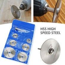 Mini Kreissäge Klinge Set HSS Schneiden Disc Dreh Werkzeug Zubehör für Dremel Kompatibel Holz Kunststoff Aluminium 7 stücke 22mm-50mm