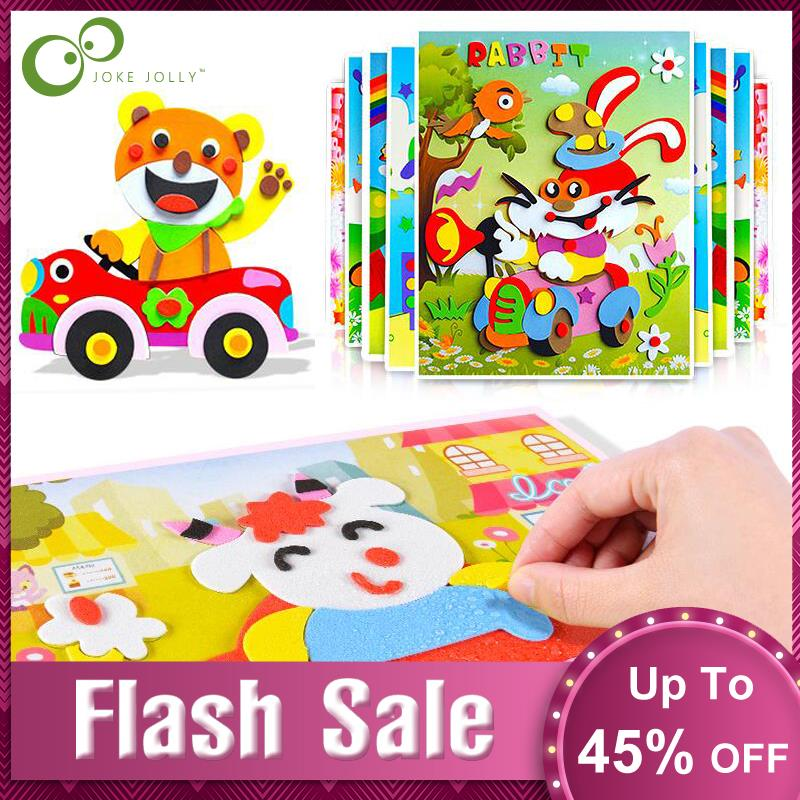 10Pcs 3D EVA Foam Sticker Puzzle Game DIY Cartoon Animal Learning Education Toys For Children Kids Multi-patterns Styles GYH