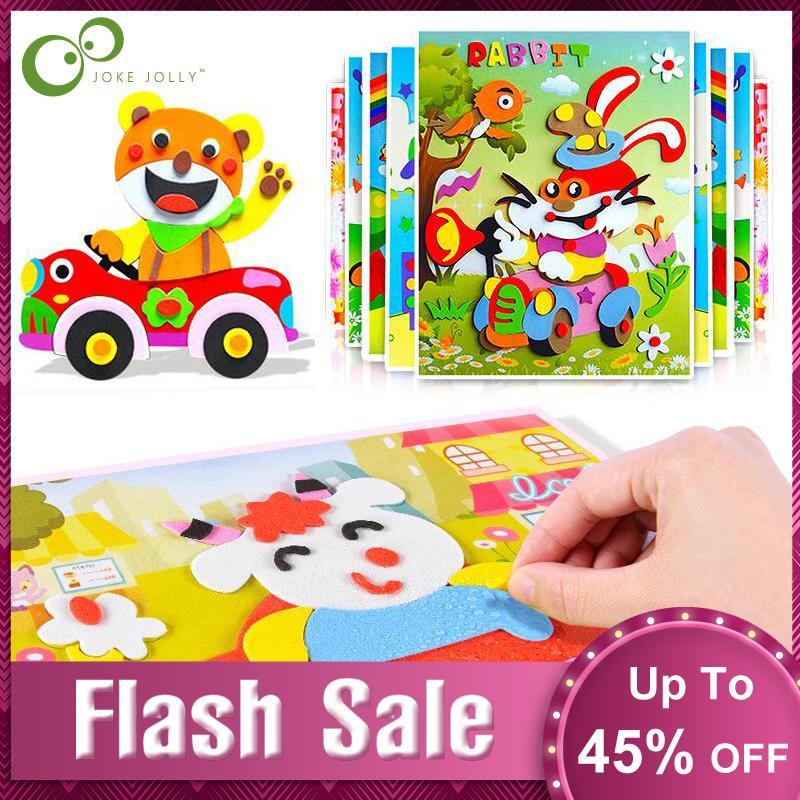 10 pçs 3d eva espuma adesivo jogo de quebra-cabeça diy cartoon animal aprendizagem educação brinquedos para crianças multi-padrões estilos gyh