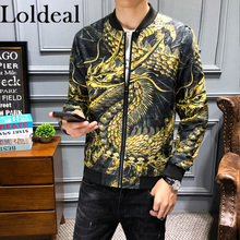 Loldeal New Dragon Print Thin Coat Men Jaket Bomber