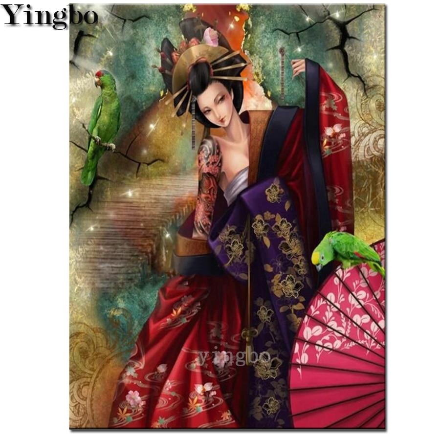 Japanese woman umbrella 5d Diy diamond painting full square  embroidery rhinestone painting diamond mosaic cross stitch art