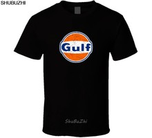 Gulf Oil Logo Keren T-shirt Discout Panas Baru Fashion Top DROP Shipping Shubuzhi Officia 100% Kapas Baru Kaos sbz3538(China)