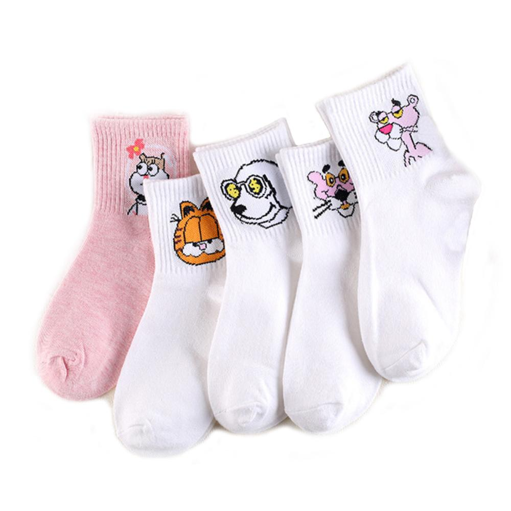 Funny Cute Cartoon Patterned Socks For Women Solid Color Casual Cotton Socks Female Spring Summer Autumn Style 1 Pack