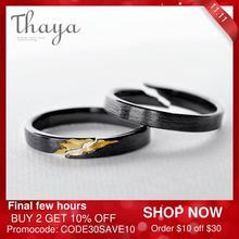 Thaya S925 فضة الذهب الكراك الدائري القديمة خشب أسود الحبوب الإناث اليدوية تكويم للنساء مجوهرات الأزياء الطرف