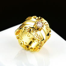 14k желтое золото бриллиантовое кольцо для женщин роскошное