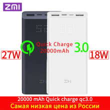 цена на ZMI Powerbank Power Bank 20000 MAh Quick Charge QC3.0 Xiao mi Battery Dual USB 27W 20000mah QB822 For iPhone iPad Laptop