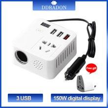 150w inversor de potência do carro 12v a 220v conversor digital carregador automático conversor adaptador modificado onda senoidal soquete universal