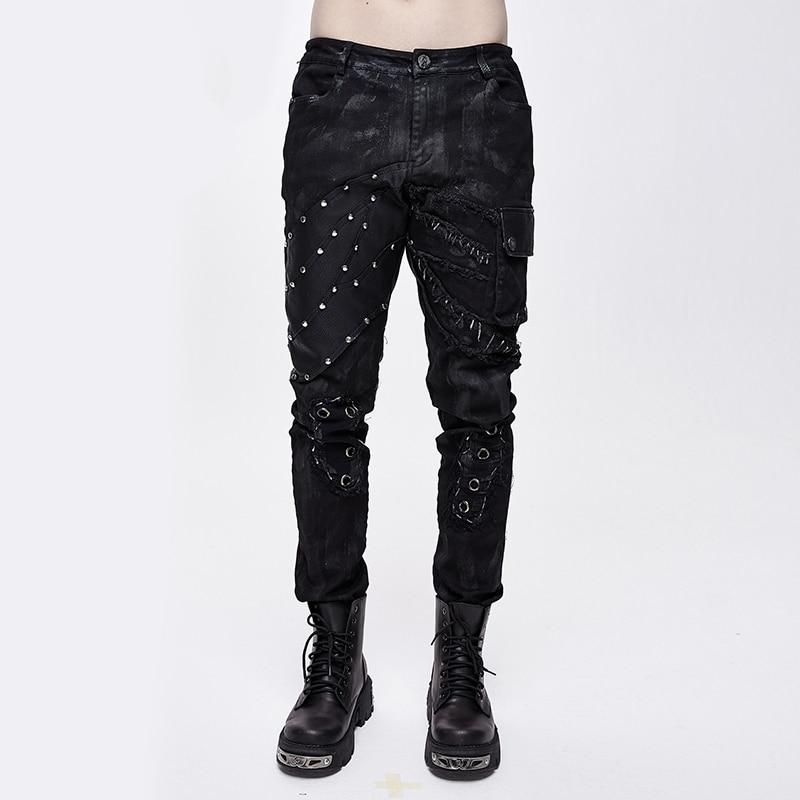 Devil Fashion Retro Black Printed Men's Studded Pants Cargo Pants Men Gothic Pocket Tactical Pants Hip-hop Pants