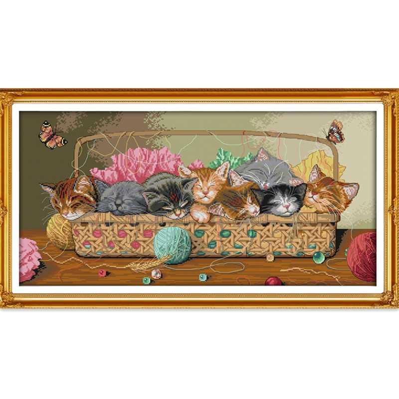 القطط حديثي الولادة في السلة عبر الابره عدة الحرير القطن 11ct طباعة قماش عبر خياطة التطريز لتقوم بها بنفسك الإبرة اليدوية