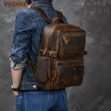 PNDME fashion vintage crazy horse cowhide men's outdoor travel backpack luxury genuine leather large capacity laptop bagpack