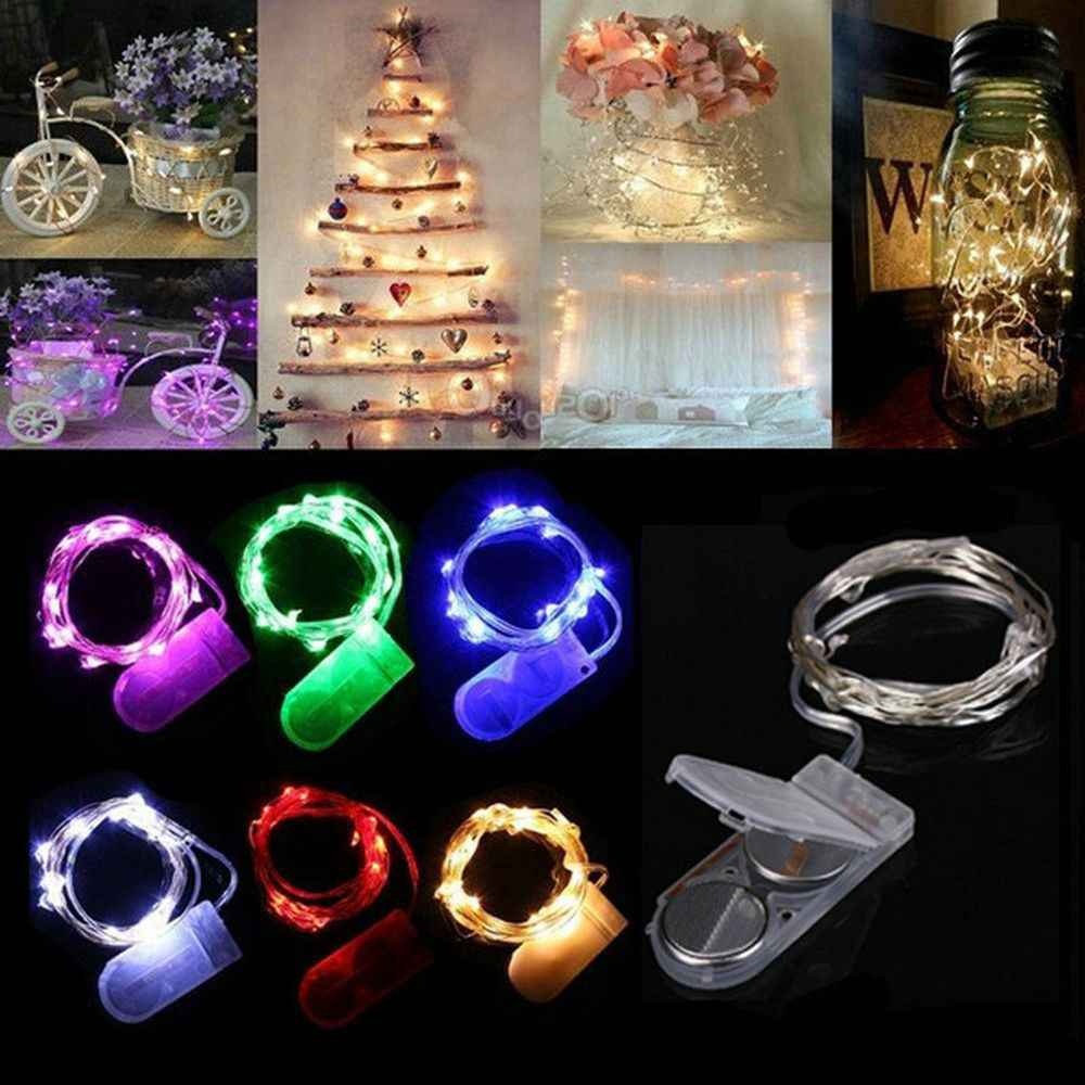 2M 20Led Knoopcel Hotbattery Aangedreven Decoratie Led Koperdraad Fairy String Lights Lampen Voor Kerstvakantie Wedding Party