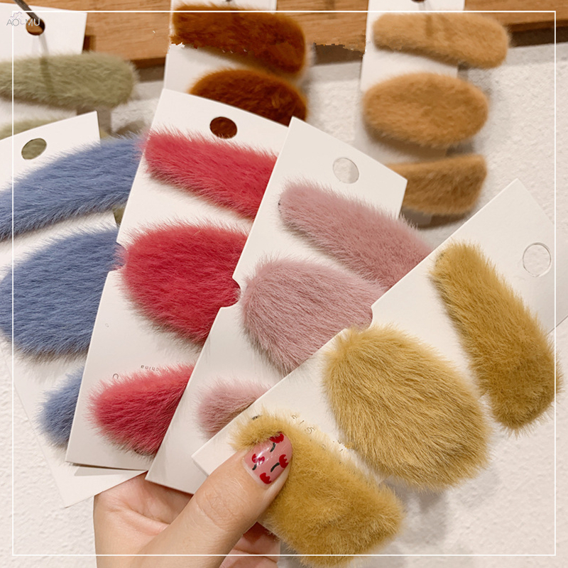 AOMU 2019 New Autumn Winter Plush Mink Hair Hairpins Candy Color Faux Fur Geometric Hair Clips Hair Accessories For Women