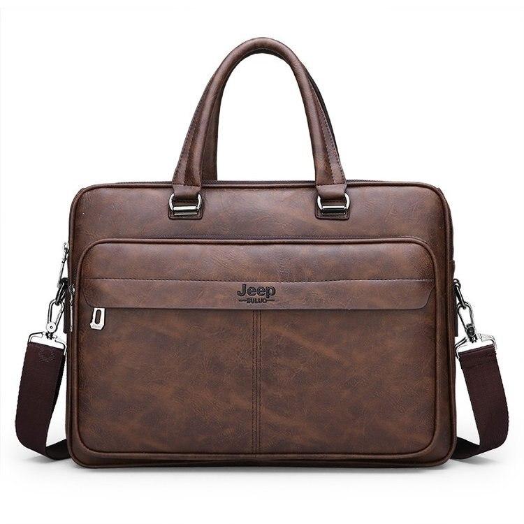 New Luxury Leather Business Men's Briefcase Vintage Male Shoulder Bag Men Messenger Bag Boy Casual Tote Computer Bag 14 Inch