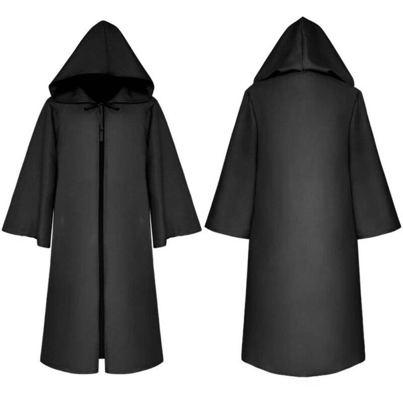 Halloween Hooded Cloak Short Robe Medieval Witchcraft Cape Robe Costume Unisex