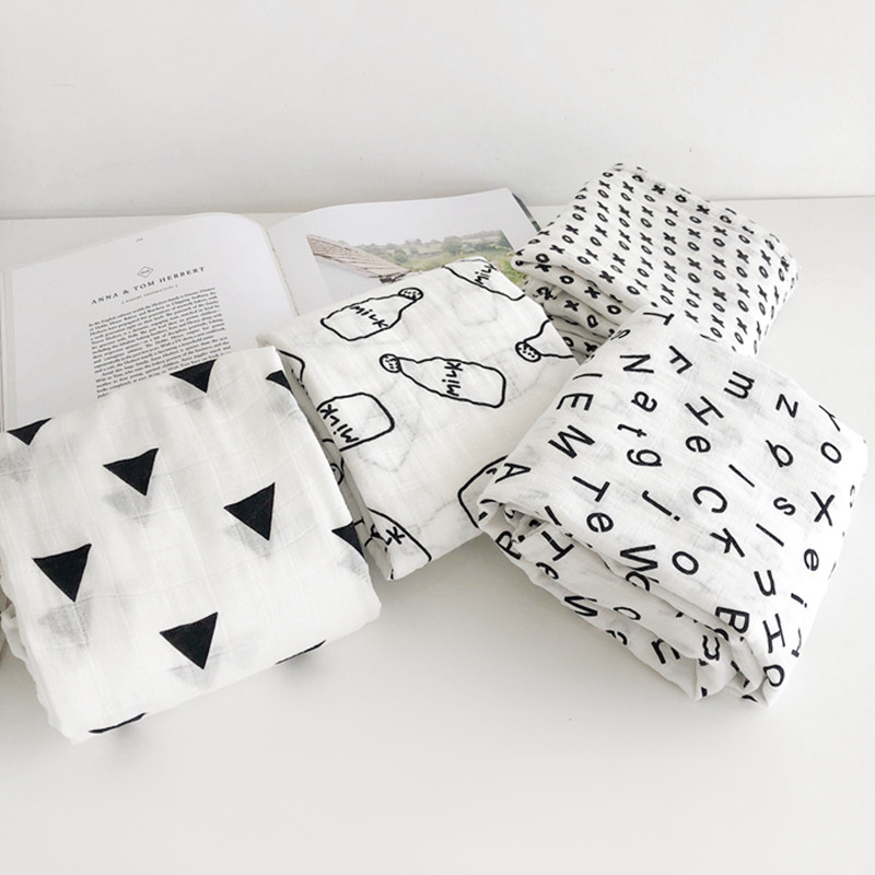Muslin 100%Cotton Blankets Fruits Animals Patterns Multi-use Newborn Swaddle Muslin Infant Gauze Both Towel Baby Warp