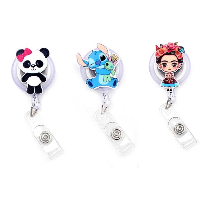 The Peking Opera Girl Clown Retractable Creative Card Holder Badge Reel Nurse Exhibition Enfermera Girl Name Card Chest Boy