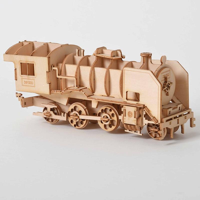 DIY 3D Wooden Puzzle Steam Train Model Clockwork Gear Drive Locomotive Wood Assembly Model Building Kit Toys For Children Adult