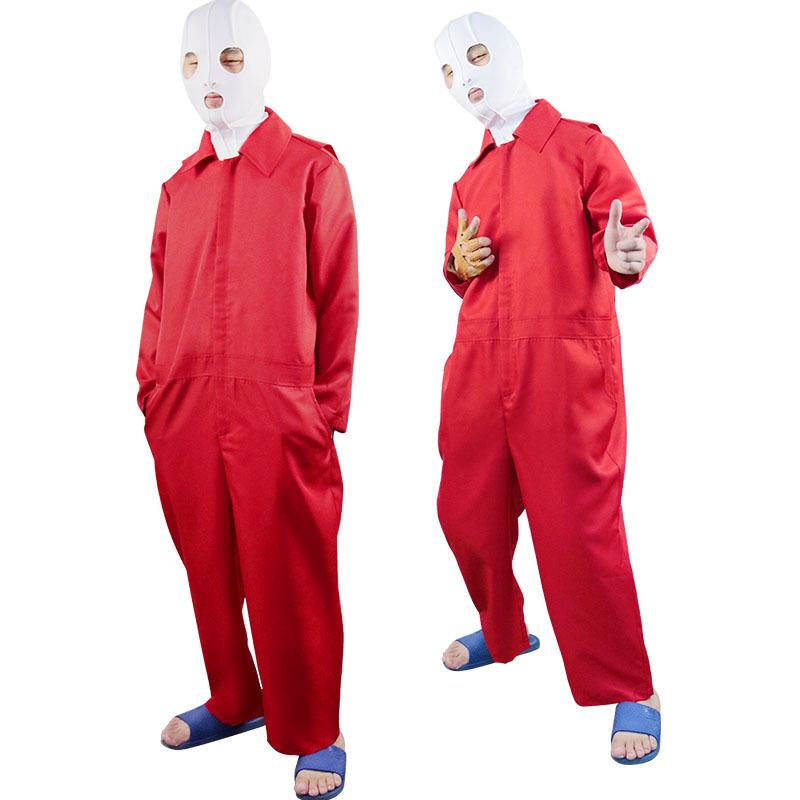 2019 New Scary Movie Us Cosplay Costume Halloween Carnival Uniforms Full Set Red Jumpsuit +Mask +Gloves image