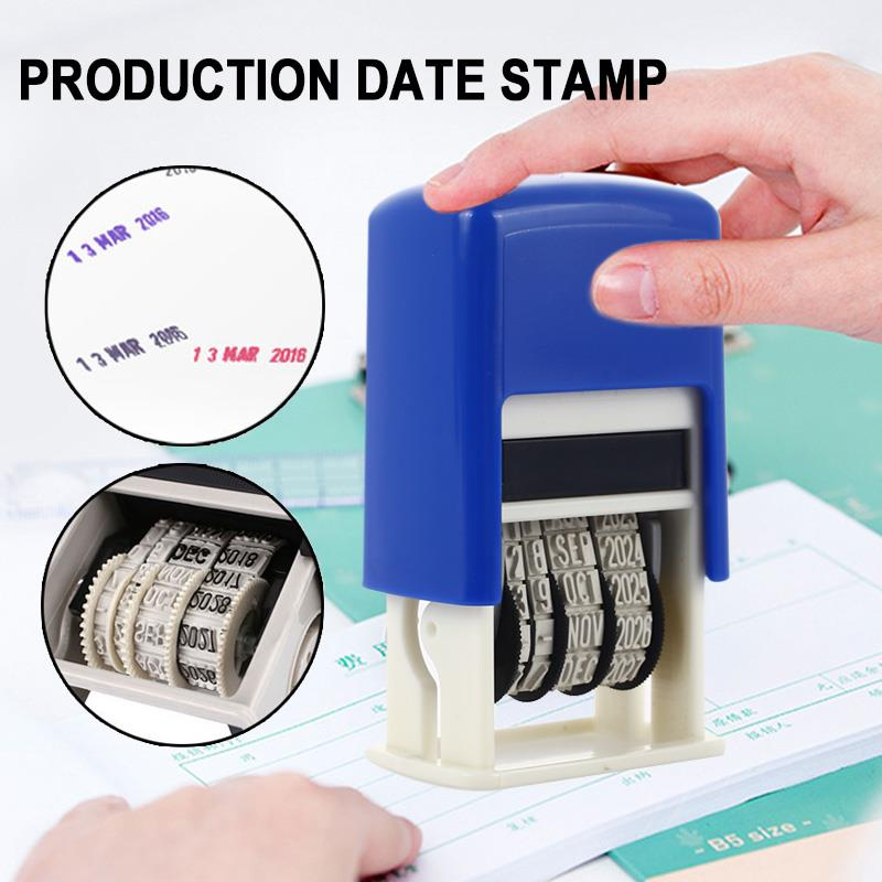 Date Stamps Convenient English 2016-2027 Home Seal Stamping Mud Set ABS Account Book Retro DIY Handle Account