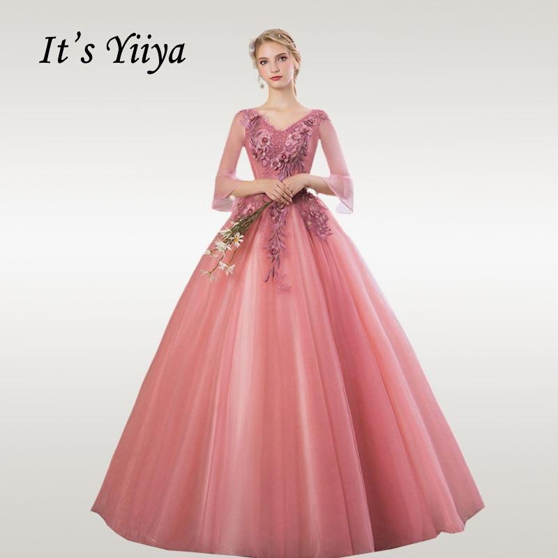 It's YiiYa Wedding Dress Elegant Flare Sleeve V-neck Beading Wedding Ball Gowns Plus Size Lace Floor Length Robe De Mariee CH192