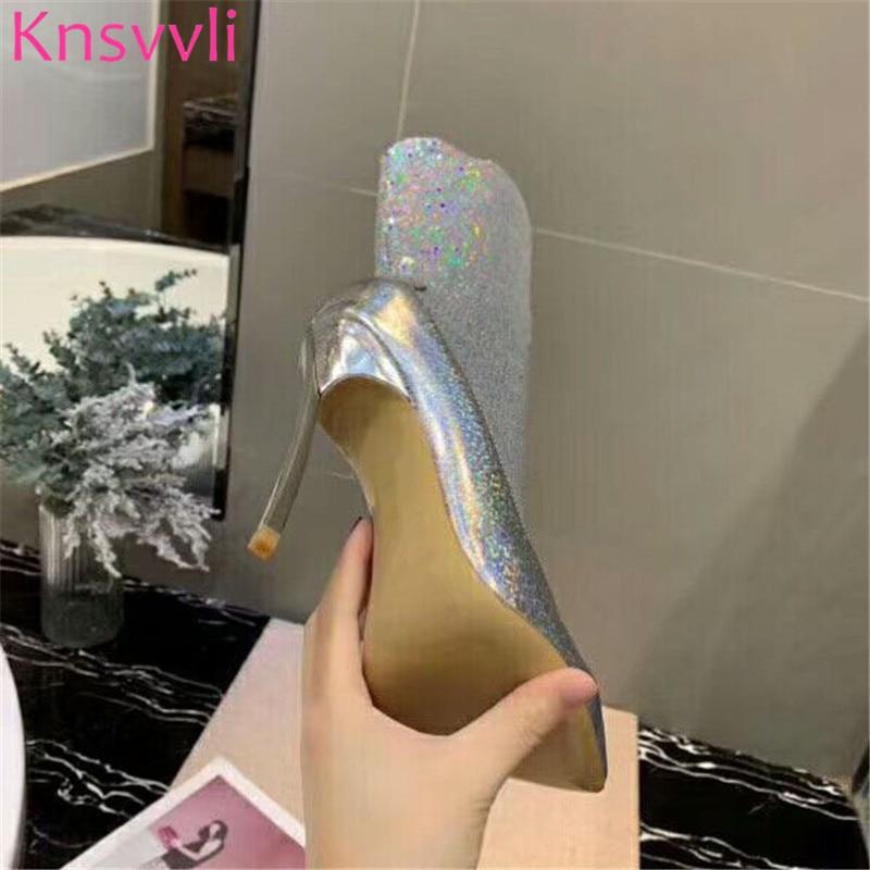 Knsvvli New Sequins Gold Ankle Boots For Women Ponted toe Stiletto Elastic Sock Boots Autumn Bling Bling High Heels Botas Mujer - 5