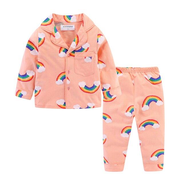 Mudkingdom Boys Girls Pajamas Set Callared Long Sleeve Cute Cartoon Autumn Toddler Pajama Kids Sleepwear Print Children Clothes 3