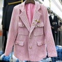 2019 autumn winter vintage Luxury Woven Tweed Winter Jacket Long Sleeve vintage Women blazer