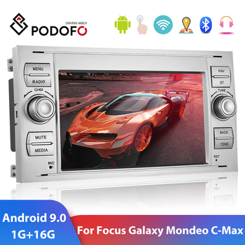 Podofo 2 din Android 9.0 Car Radio Multimedia Player 2 Din 7 GPS Autoradio For Focus Mondeo Transit Fiesta Galaxy Fusion C-Max image