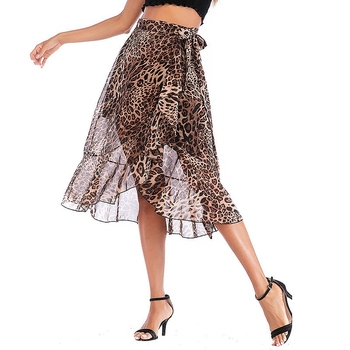 Vintage Leopard Print Women Midi Skirt High Waist Asymmetrical Ruffle Skirt Irregular Casual women's mesh sexy party club skirt self belt ruffle waist high split skirt