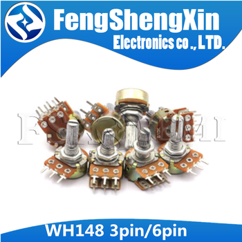 10pcs WH148 3pin 6pin 15mm B1K B2K B5K B10K B20K B50K B100K B250K B500K B1M Potentiometer 1K 2K 5K 10K 20K 50K 100K 250K 500K 1M 128 pairs associated with switch potentiometer b500k 15mm