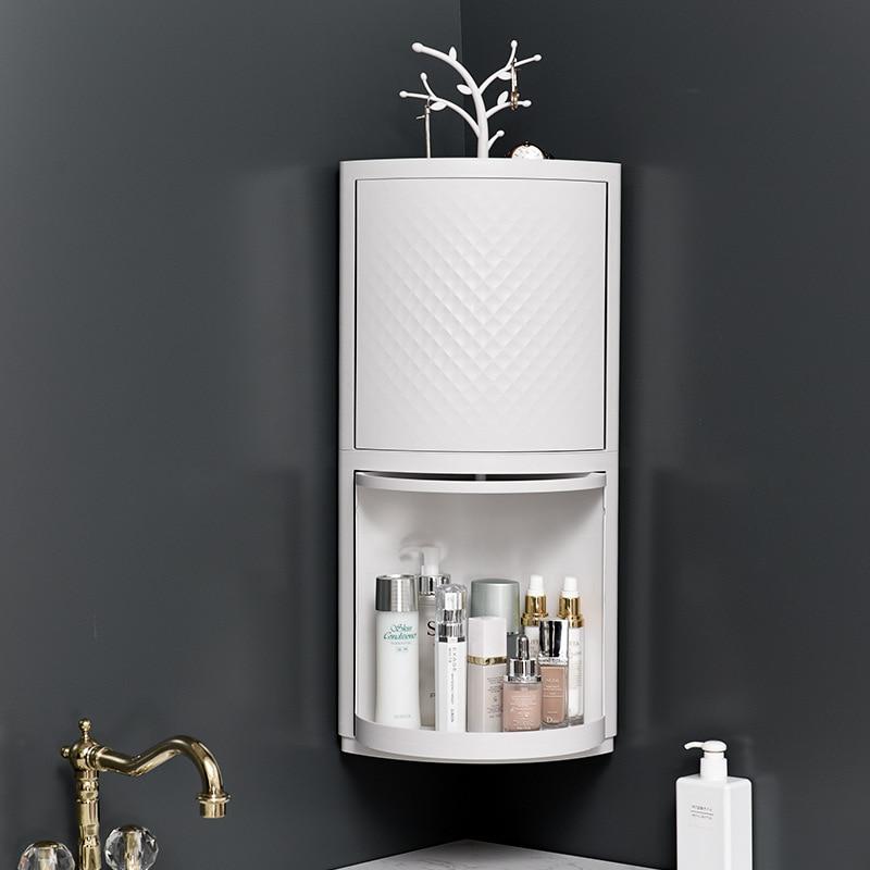 Bathroom Corner Frame Bathroom Plastic Wall Hanging Storage Cabinet Kitchen Household Cosmetics Storage Box