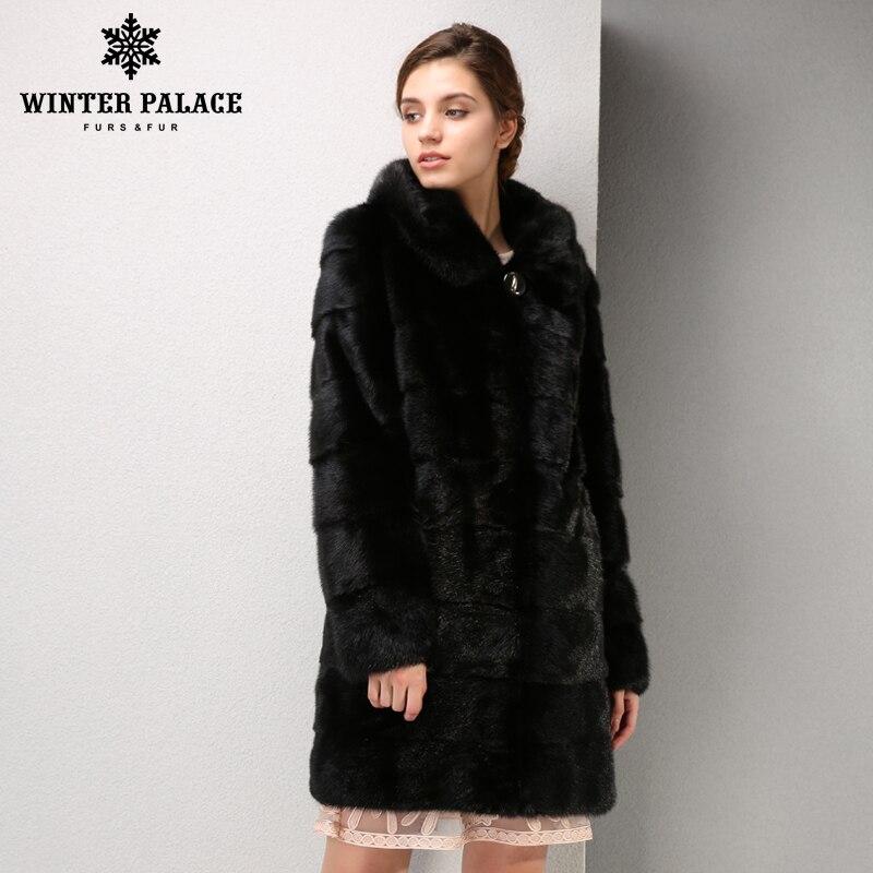 Nouveaux modèles de mode manteau de fourrure de vison, manteau de fourrure de vison noir, manteau de fourrure de vison naturel, dans la longue section manteau de fourrure de vison livraison gratuite